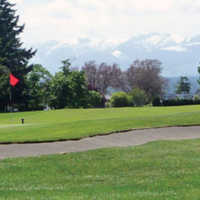 A view of the 8th green at Comox Golf Club.