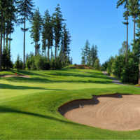 A view of green #3 protected by sand traps at Northlands Golf Course