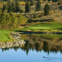 A view of the 10th green from the pond at The Rise Golf Club