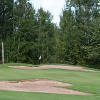 A view of the 6th hole protected by a collection of tricky bunkers at Barrhead Golf Club