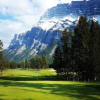 A view of a hole at Banff Springs Golf Club