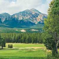A view of the 9th green at Jasper Park Lodge Golf Course