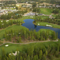 Bootleg Gap Golf - aerial view of the 7th green