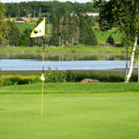 A view of a hole with water coming into play at Clyde River Golf Club
