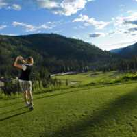 A view from a tee at Sun Peaks Resort Golf Course