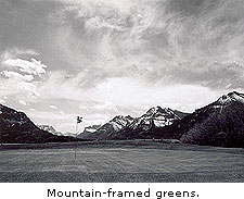 Mountain-framed greens