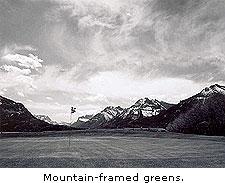 Mountain-framed greens
